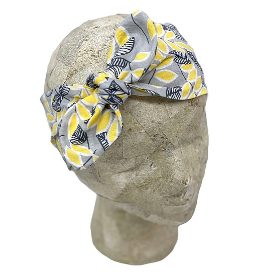 Tie Cotton Gray and Yellow Floral Headband