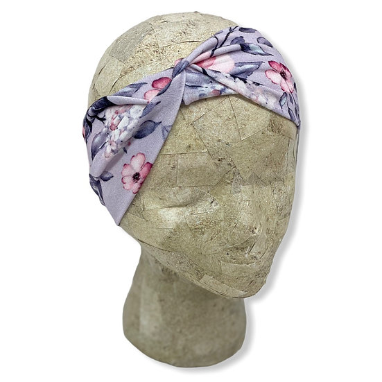 Grey and Pink Floral Headband