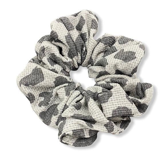 Waffle Knit Grey Animal Print Jumbo Scrunchie