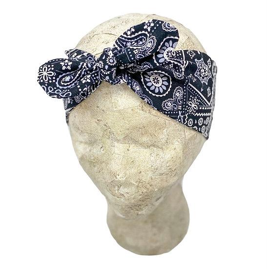 Tie Cotton Black Paisley Headband