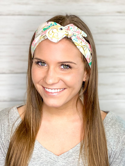 Pastel and Gold Floral Tie Cotton Headband