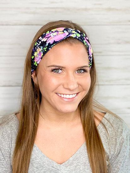 Bright and Black Floral Headband