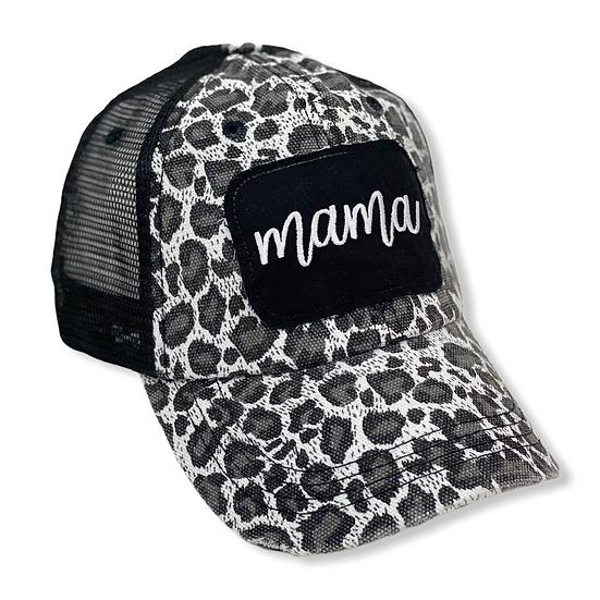 Mama Black and White Animal Print Messy Bun Trucker Hat