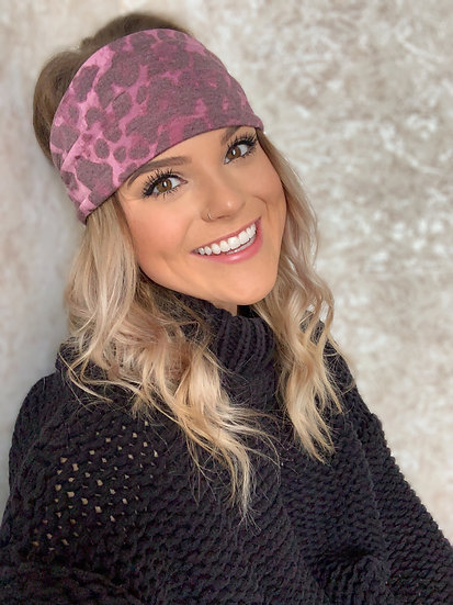 Fuschia Plum Animal Print Headband