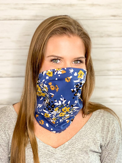 Blue and Gold Floral GemBand - All-in-on Accessory