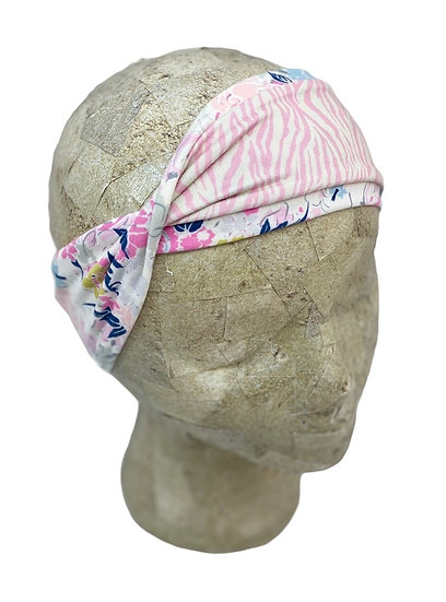 Two Toned Pink Zebra and Floral Headband