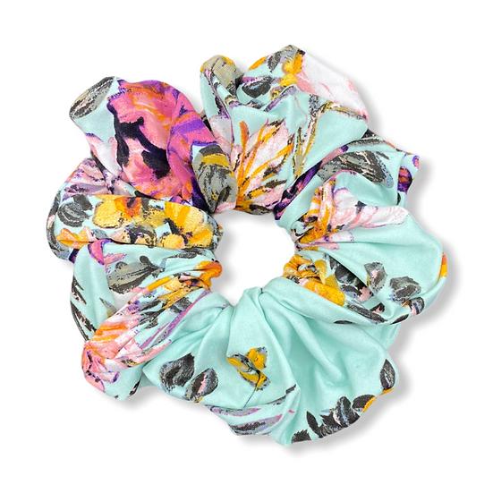 Mint Floral Jumbo Scrunchie