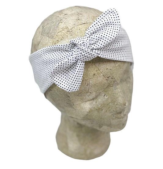 Tie Cotton White and Black Polka Dots Headband