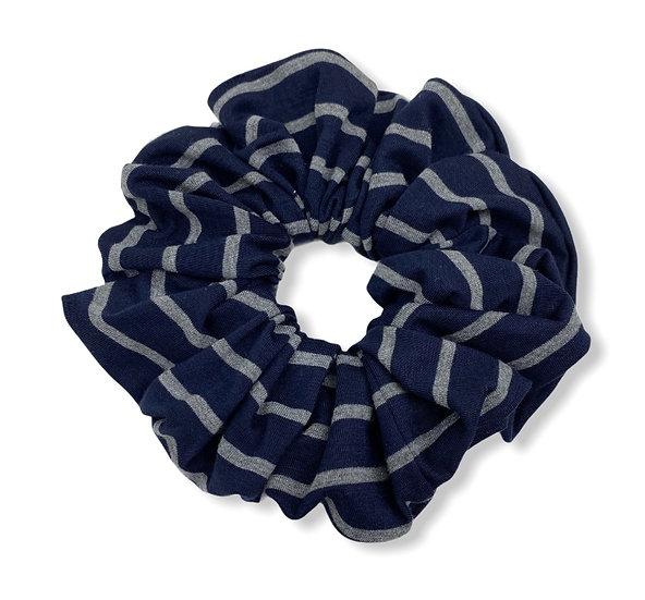 Navy and Grey Stripe Jumbo Scrunchie