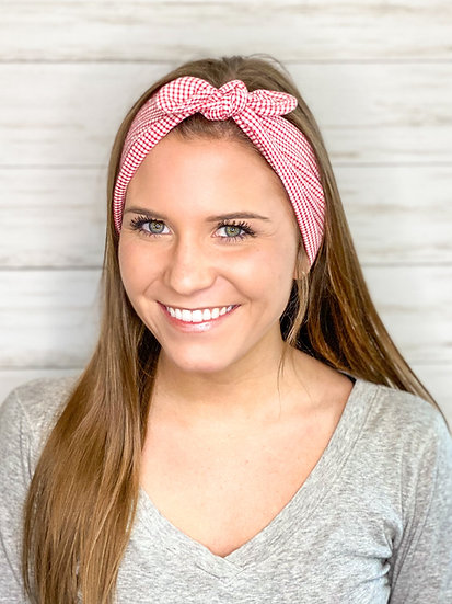Tie Cotton Red Gingham Headband