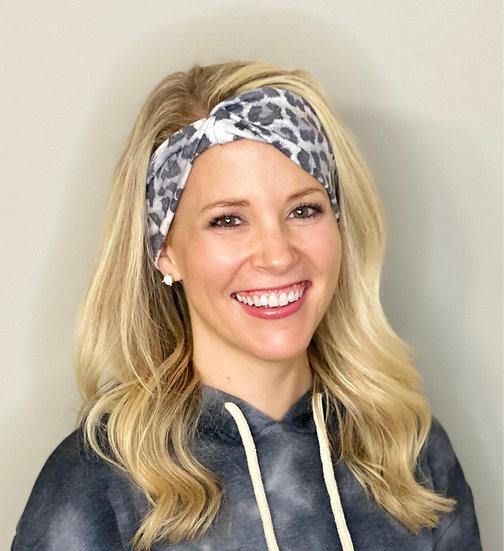 White and Grey Animal Print Headband
