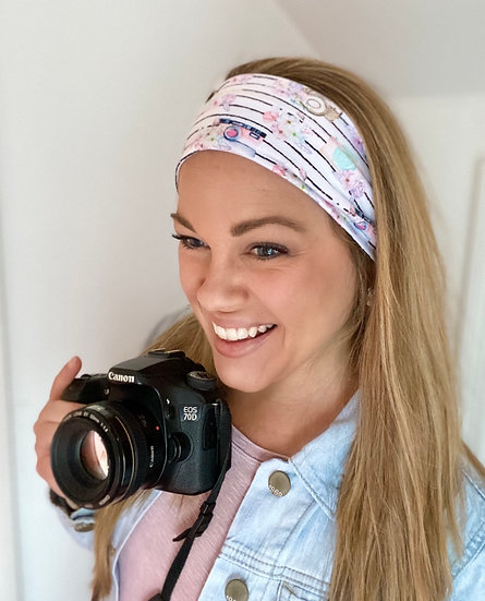 Camera Stripes and Floral Headband