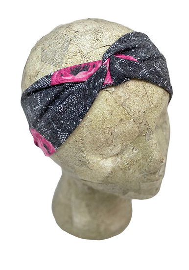 Black Lace and Pink Roses Headband