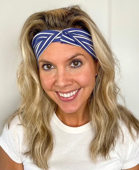 Royal Blue and White Stripes Headband