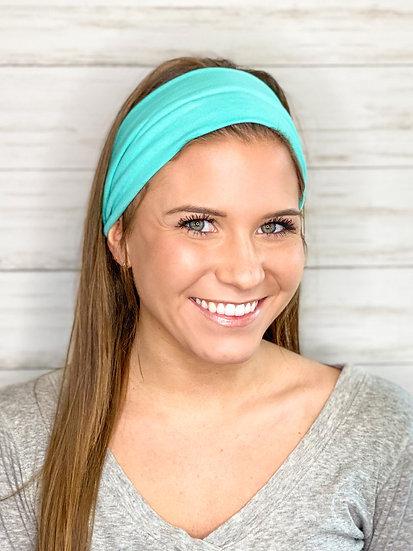 Tighter Fit—Solid Aqua Mint Headband
