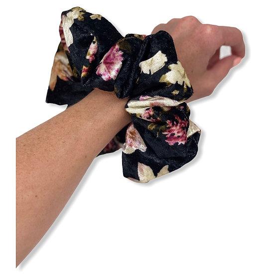 Black Floral Crushed Velvet Jumbo Scrunchie