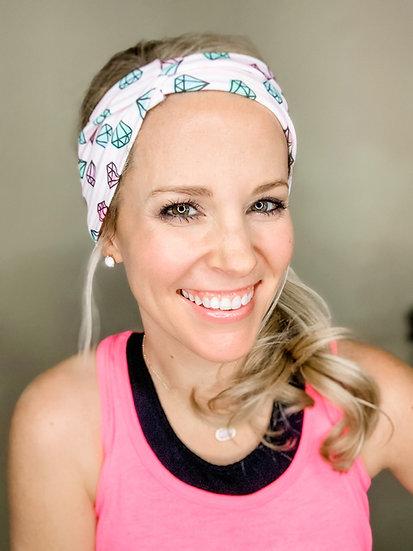Diamond Pink and White Striped Headband