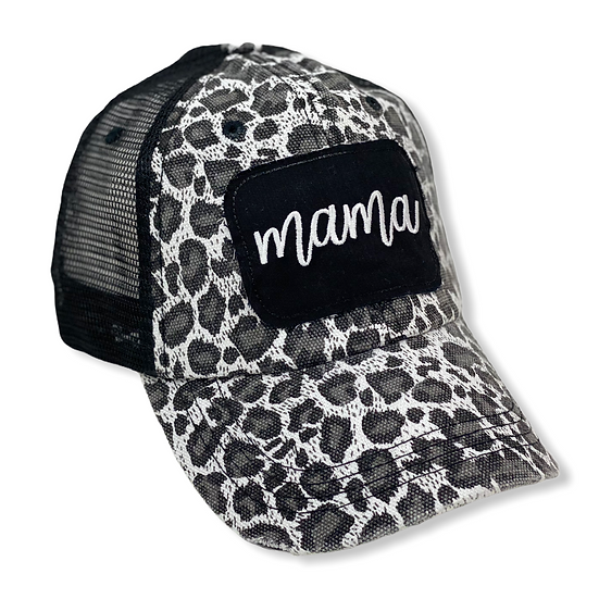 Mama Black and White Animal Print Trucker Hat
