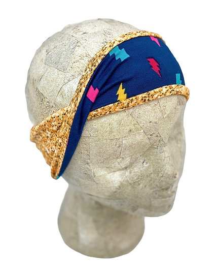 Two Toned Gold Glitter and Lightning Bolts Headband