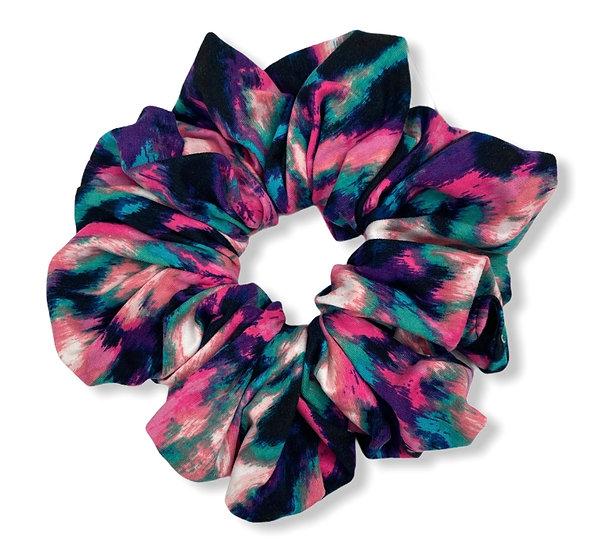 Bright Purple and Pink Tie Dye Jumbo Scrunchie