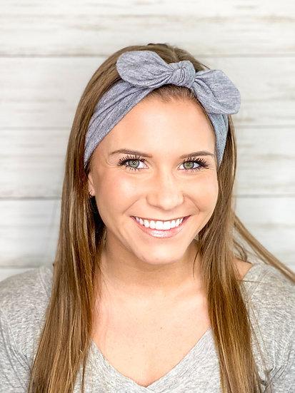 Tie Knit Light Grey Headband