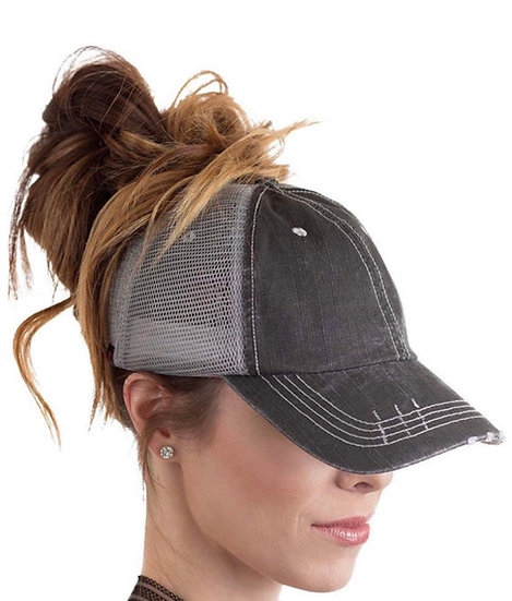 Charcoal Grey Two Toned Messy Bun Trucker Hat
