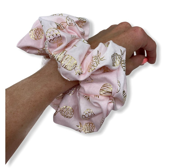 Light Pink and Gold Pineapple Scrunchie