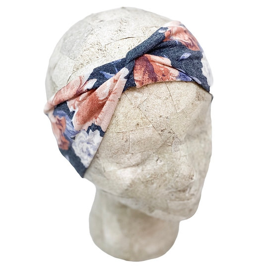 Charcoal and Pastel Floral Headband