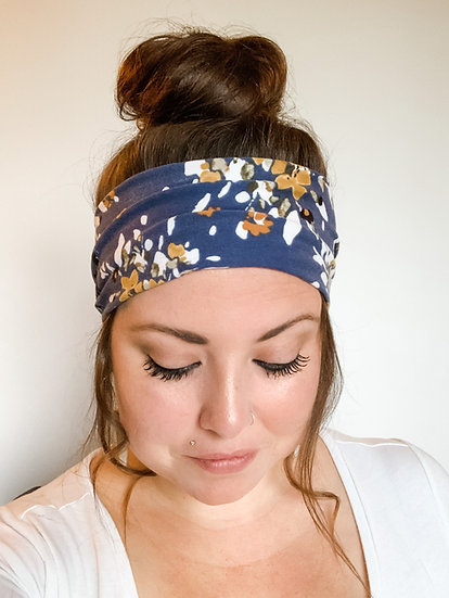 Blue and Gold Floral Headband