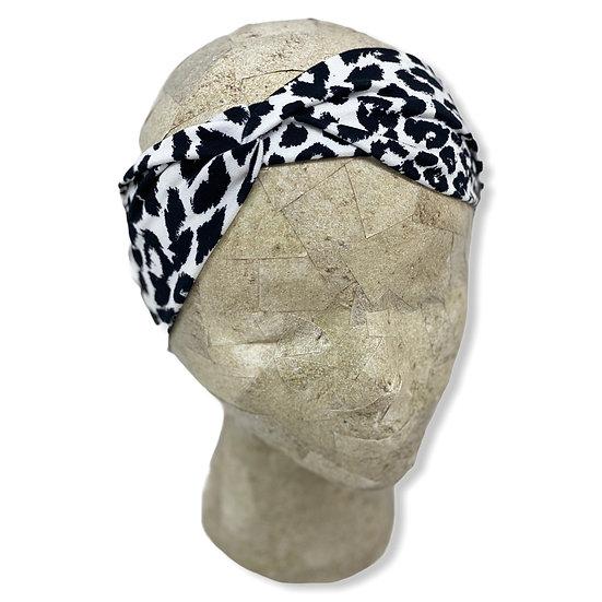 White and Black Animal Print Headband