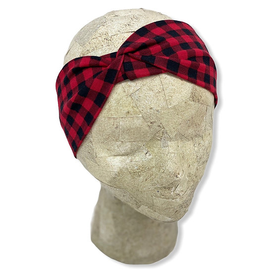 Small Red and Black Plaid Headband