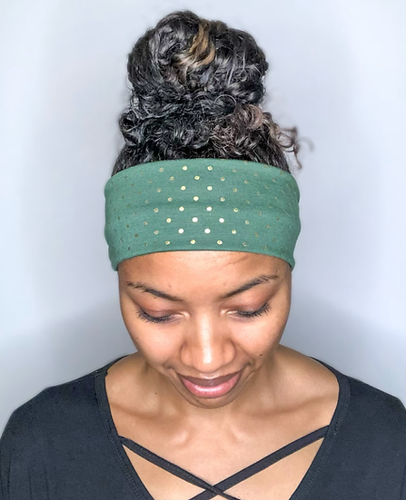 Green and Gold Foil Polka Dots