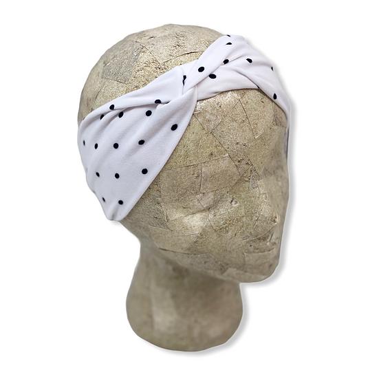 White with Black Polka Dots Headband