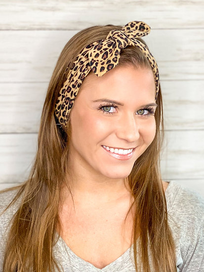 Tie Knit Small Animal Print Headband