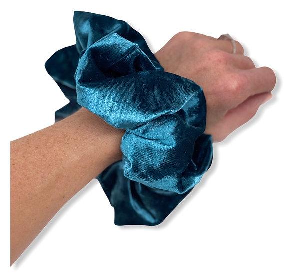 Dark Teal Crushed Velvet Jumbo Scrunchie