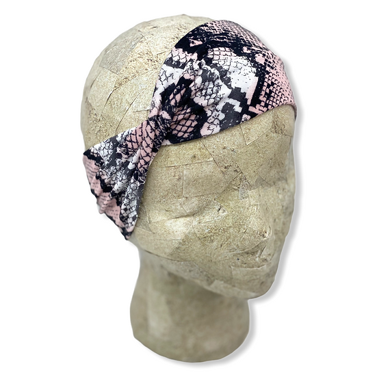 Pink and Black Snake Skin Headband