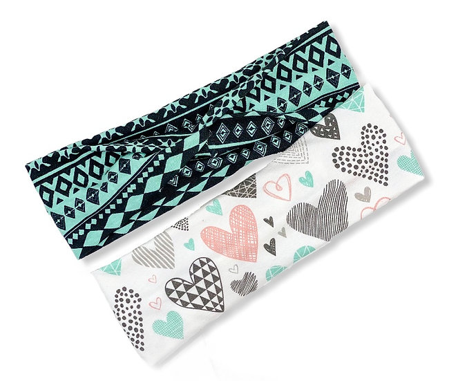 Geometric Hearts and Diamonds Headband Duo
