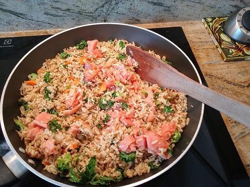 Salmon, Broccoli & Ginger Rice