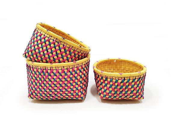 Open Basket (Round, Jali embellished) - Set of 3