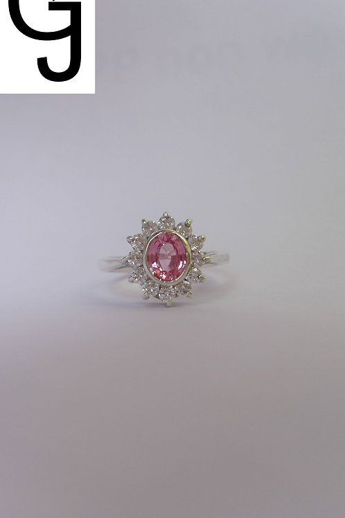 Silver Ring with Pink and White Sapphire BS 1525