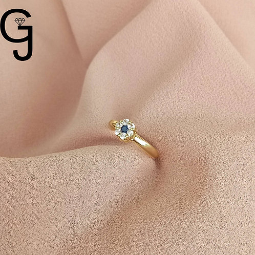 Yellow Gold Ring with White Sapphire  and Blue Sapphire B 1103