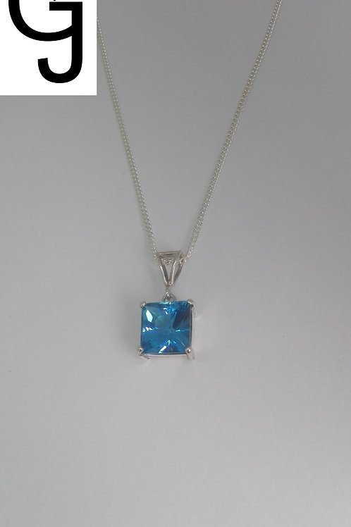 Silver Pendant with Blue Topaz BS 3057