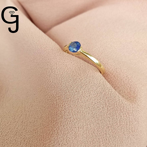 Yellow Gold Ring with Blue Sapphire B 1935