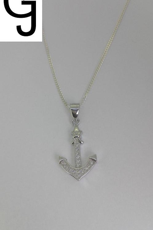 Silver Pendant with Zircon Anchor BS 13604