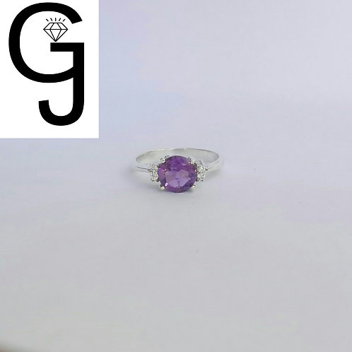 Silver Ring with Amethyst and Zircon BS 8767