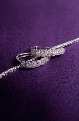 Diamond U-Hoop Earrings