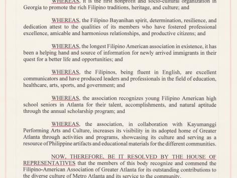 GA House of Representatives Resolution recognizing Filipino-American Association of Greater Atlanta