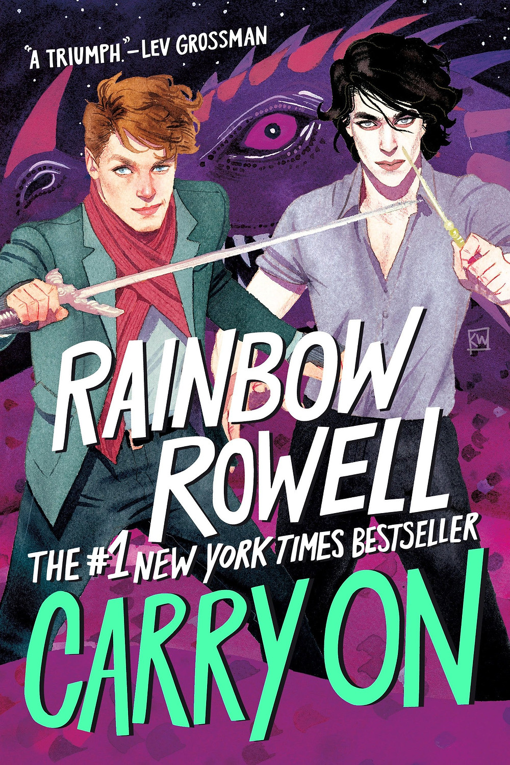 Carry On book cover featuring Simon and Baz holding wands in front of a dragon.