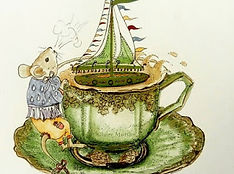 mouse and teacup watercolour and