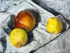 Still Life with Fruit oil on paper 40x25